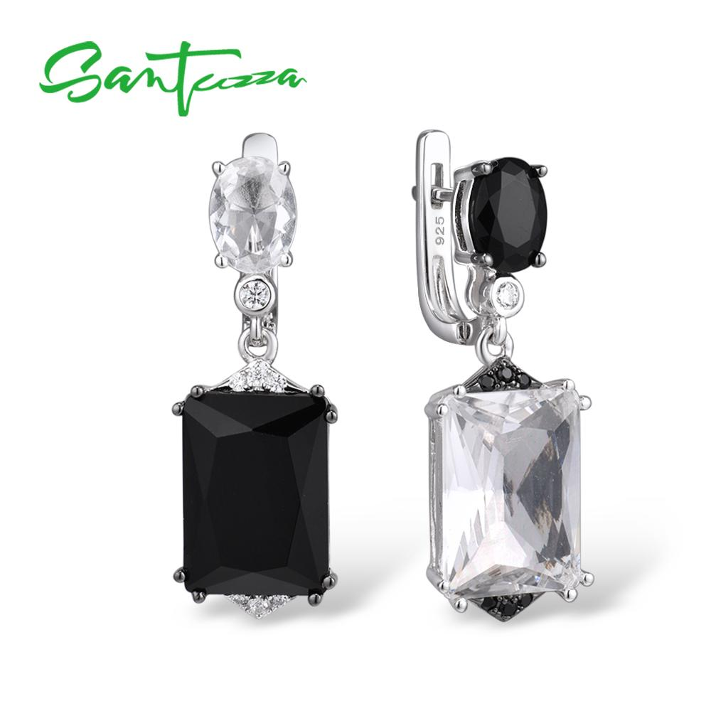 SANTUZZA Silver Earrings For Women Pure 925 Sterling Silver Sparkling White Black Crystal Drop Earrings Stunning Fine Jewelry