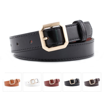 New Fashion Women PU Leather Belts Metal Square Pin Buckle Female Waist Strap Ladies Jeans Student Trousers Dress Waistband