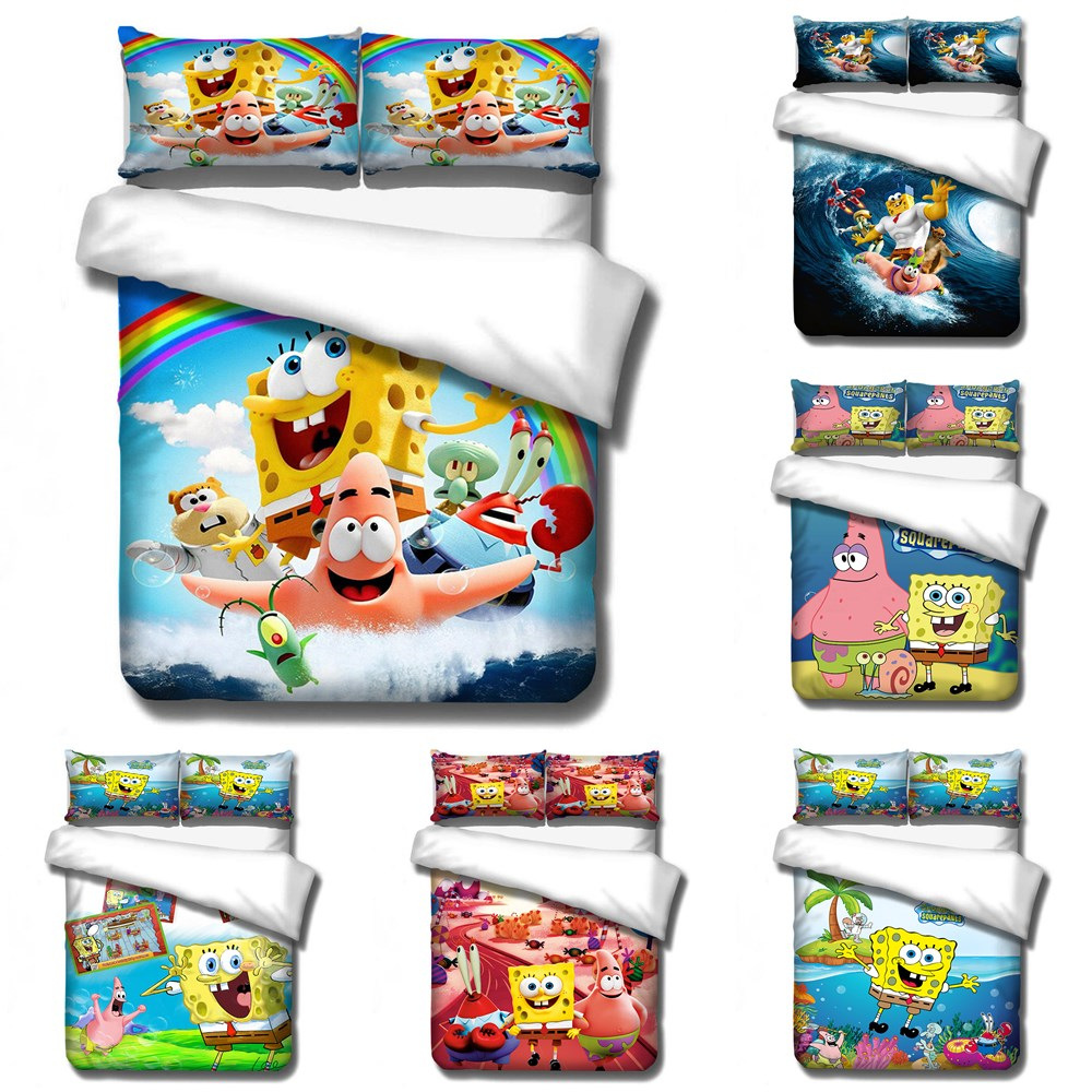 Housse de couette taille 2/3 pièces | Housse de couette, bob 3D surf SpongeBob mignon faction poisson étoilé, ensembles de literie de dessin animé roi reine, taie d'oreiller double taille
