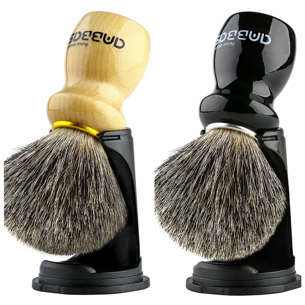 Shaving Brush Holder Set, Anbbas Pure Badger Hair Shave Brush Wood Handle Resin Stand 2in1 Traditional Shaving Kit For Men