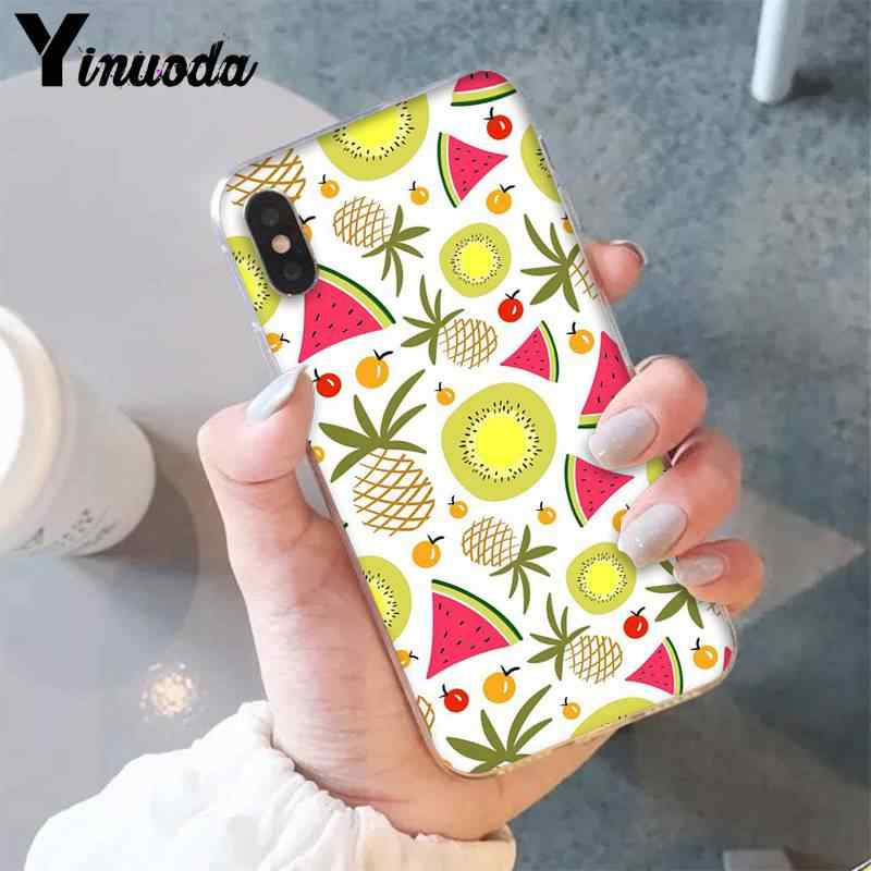 Yinuoda letnie owoce cute cartoon śmieszne TPU czarny etui na telefon dla iPhone 8 7 6 6S Plus X XS MAX 5 5S SE XR 11 11pro 11promax
