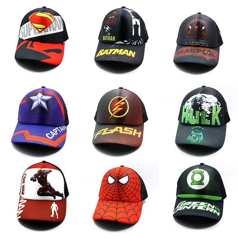 NEW Avengers Sun Hat Model Marvel Deadpool Thor Hip Hop Cap Spiderman Figurines Kids Toys Hulk Captain America Superman Batman