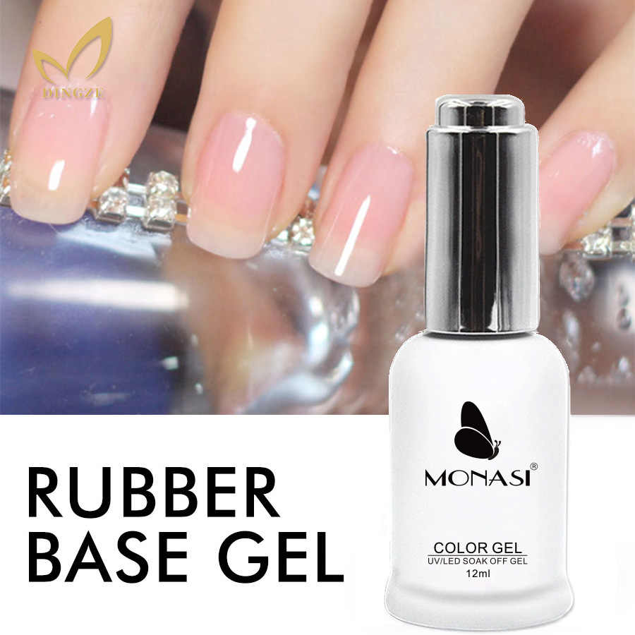 MONASI Tahan Lama Base Coat Nail Art Profesional Warna Rendam Off UV Gel Varnish Karet Tebal Basis Gel Tidak Ada lap Top Coat
