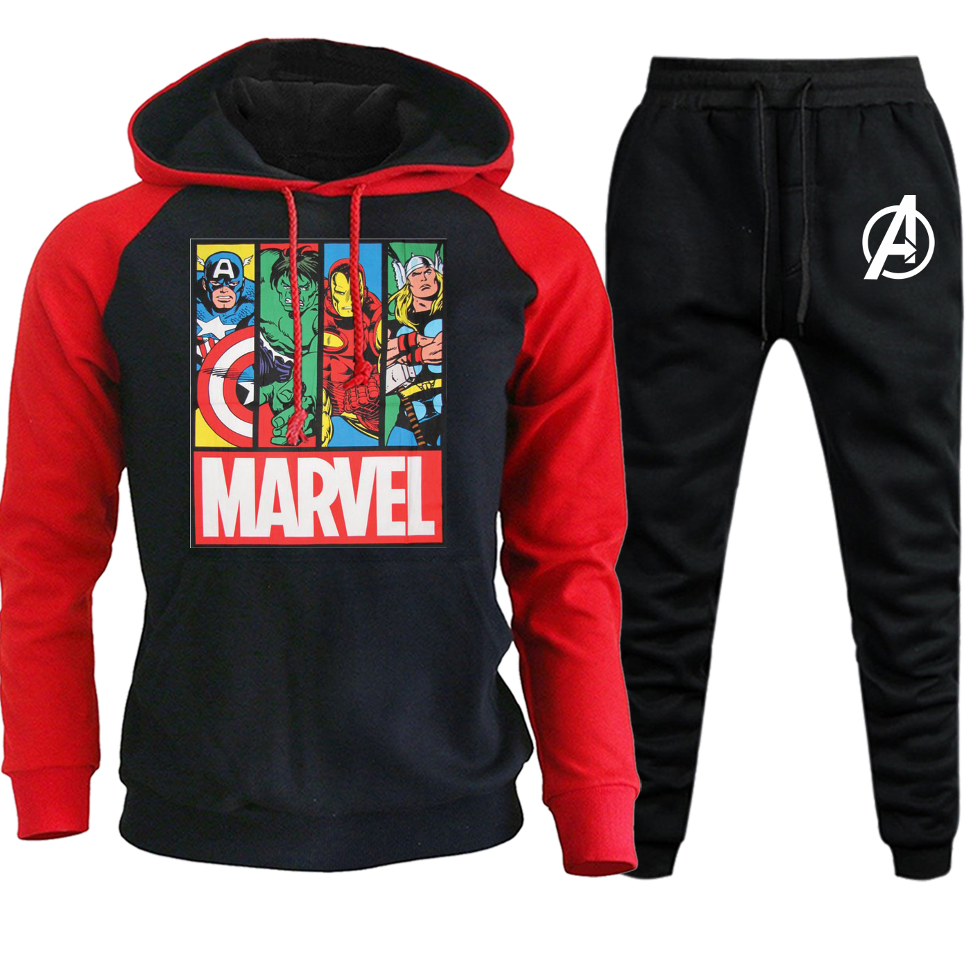 Marvel The Avengers New 2019 Autumn Winter Raglan Mens Hooded Sportswear Fashion Pullover Suit Casual Hoodie+Pants 2 Piece Set