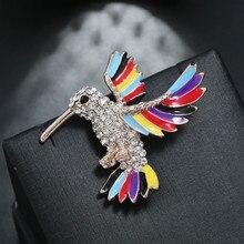 Fashion Rhinestones Alloy Brooch 2020 Popular Dripping Oil Hummingbird Multicolor Wing Simple Animal Personality Corsage Brooch rhinestones christmas hat brooch