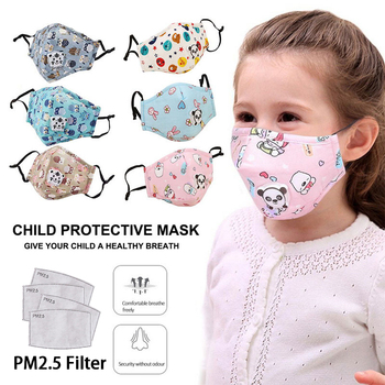 Reusable Children Mask With 4 Filters Kids Mouth Mask Anti-Fog Haze Dust PM 2.5 5 Layers Face Mask Breathable Valves Kids Mask