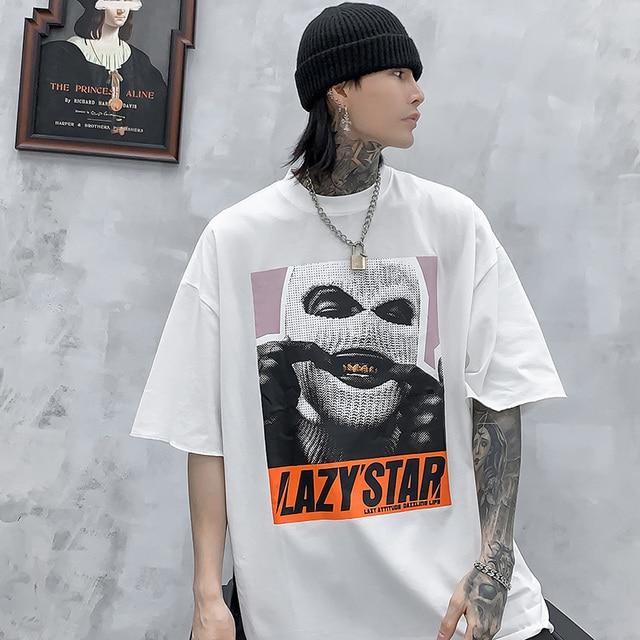 Oversize Hip Hop T Shirt Men 2020 Streetwear Harajuku Masked Man Print Tshirt Short Sleeve Cotton Casual T-Shirt Black Plus Size 5