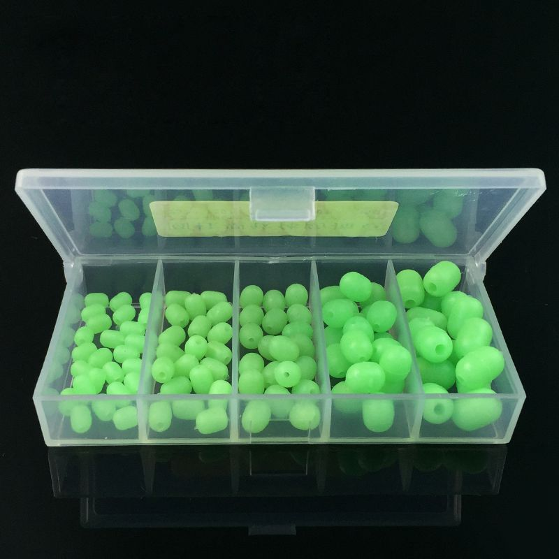 100Pcs Oval Luminous Fishing Beads Lure Floating Float Tackles Glow InThe Dark