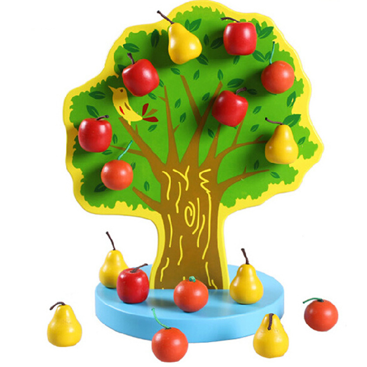 Youdele Children'S Educational Wooden Kuai Nogo Yuan String Tree Color Apple Magnetic Early Education Fruit Bead Toy