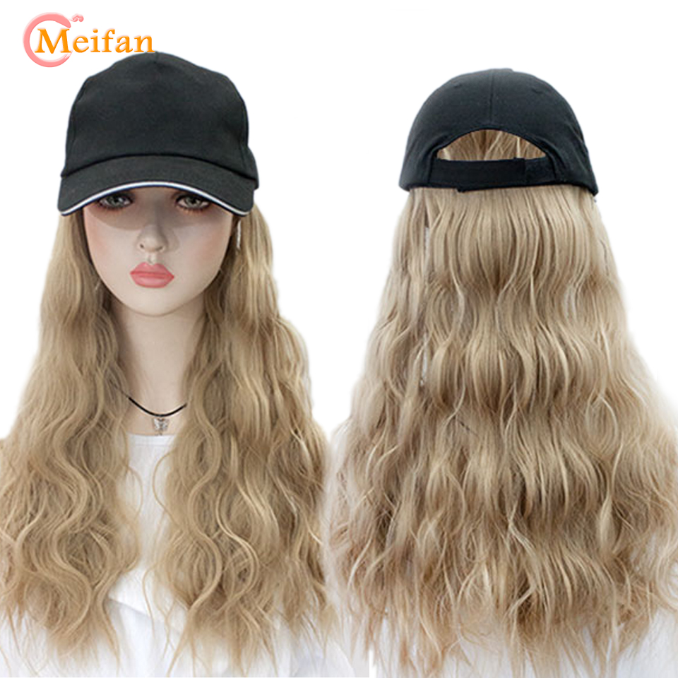 MEIFAN Adjustable Size Baseball Hat Synthetic Hair Wig Black Brown Color Long Straight Hair Extension With Black Hat For Women