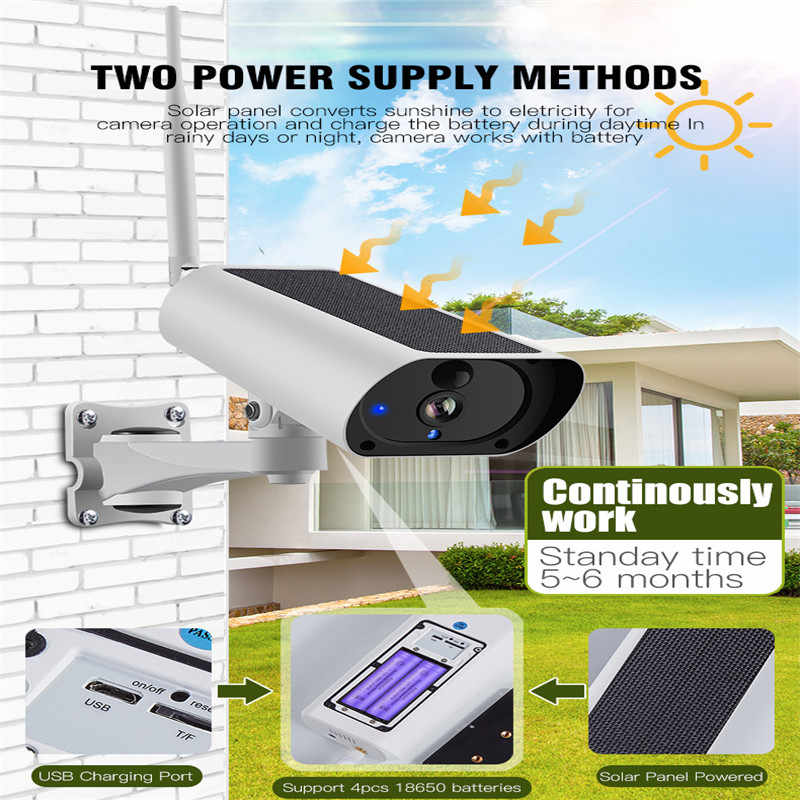 Wanscam 1080P Solar Power Battery Powered WiFi IP Camera 2 way Audio Surveillance Night Vision Outdoor PIR Motion Detection