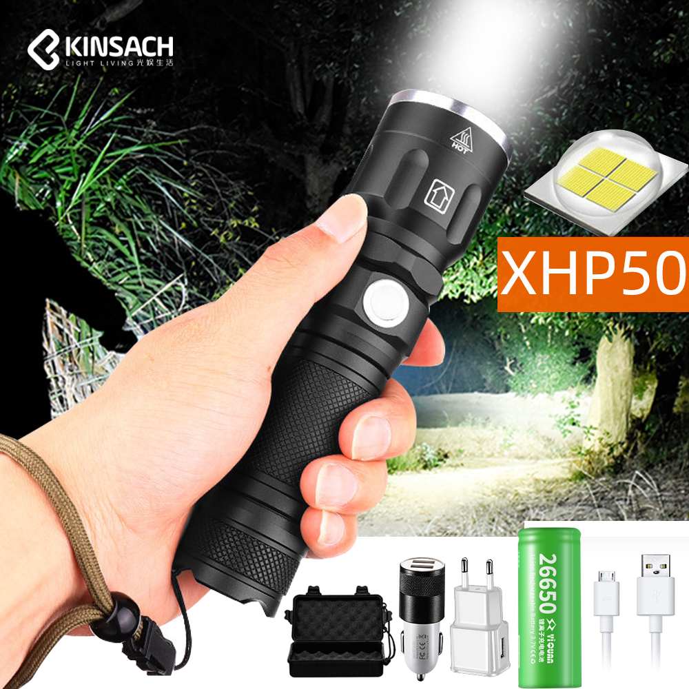 50000 Lumens High-power XHP50 LED Flashlight 5lighting modes Zoomable Torch Use 18650 or 26650 battery for Camping adventure