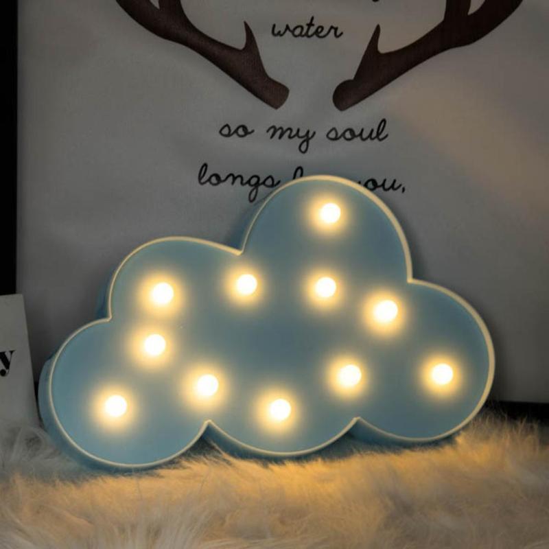 Cute 3D LED Night Light Christmas Star Moon Cloud Decorate Lamp Kids Bedroom Indoor Lighting Decor Lamp