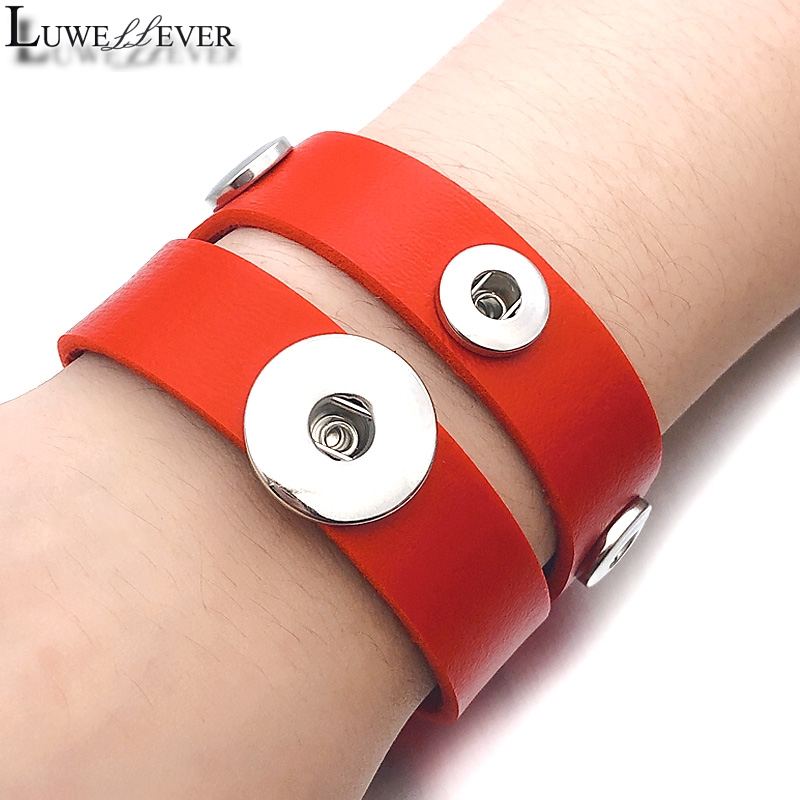Candy Colors 186 Real Genuine Leather Retro Fashion Bracelet Fit <font><b>12mm</b></font> 18mm <font><b>Snap</b></font> <font><b>Button</b></font> Bangle Charm <font><b>Jewelry</b></font> For Women Gift image