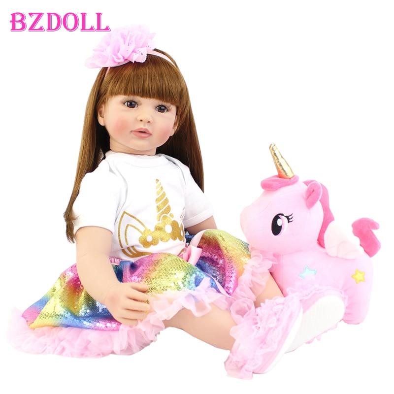 60cm Große Größe Reborn Kleinkind Puppe Spielzeug Lebensechte Vinyl Prinzessin Baby Mit Einhorn Tuch Körper Lebendig Bebe Mädchen Geburtstag geschenk