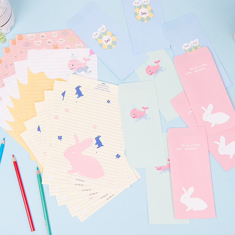 South Korea Creative Retro Animal Writing Paper Envelop Package Romantic Hipster Love Letter 3 Envelope + 6 Writing Paper