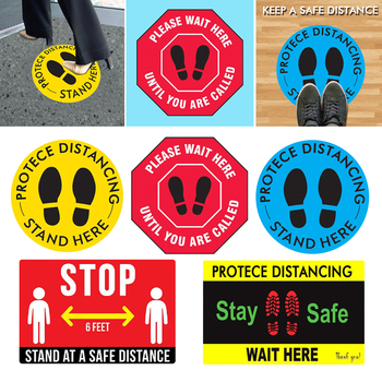 PVC Social Distancing Floor Signs Wait Here Stand Here Sticker Label Decal 6 Foot Distance Anti-Slip Reinstate Wall Stickers image