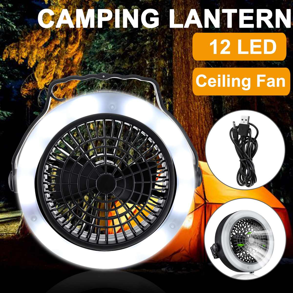 2 In 1 USB Portable 12 LED Ceiling Fan Light Mini  Cooler Outdoor Camping Tent Lamp Hanging Hook Lantern