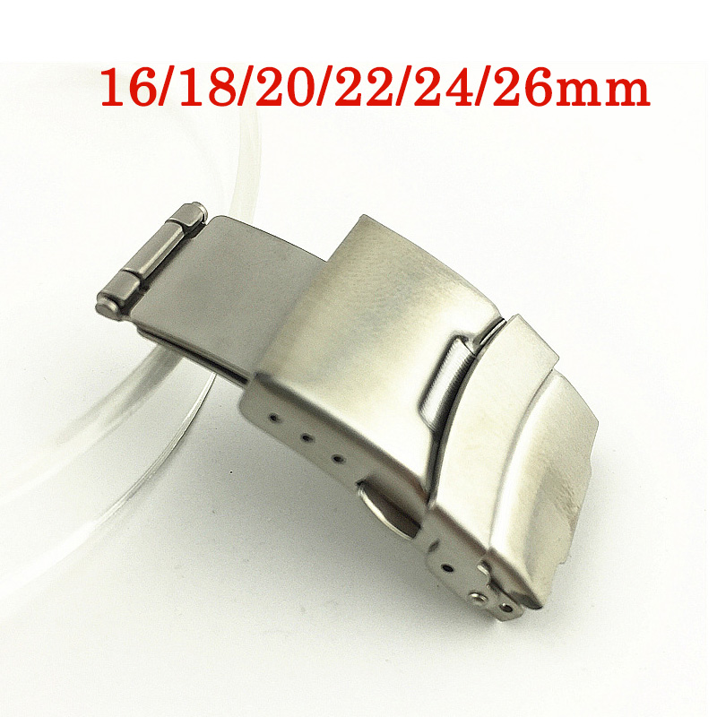 16/18/20/22/24/26mm Watch Buckle Double Insurance Steel Buckle Push Button Fold Deployment Clasp Aircraft Folding Strap Buckle