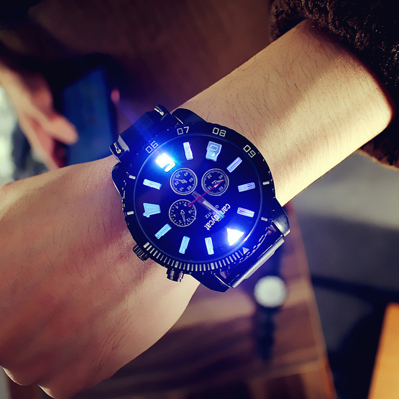 Fashion Glow Watches Mens 7 Color Led Lights Sports Silicone Watch Student Quatrz reloj hombre Men