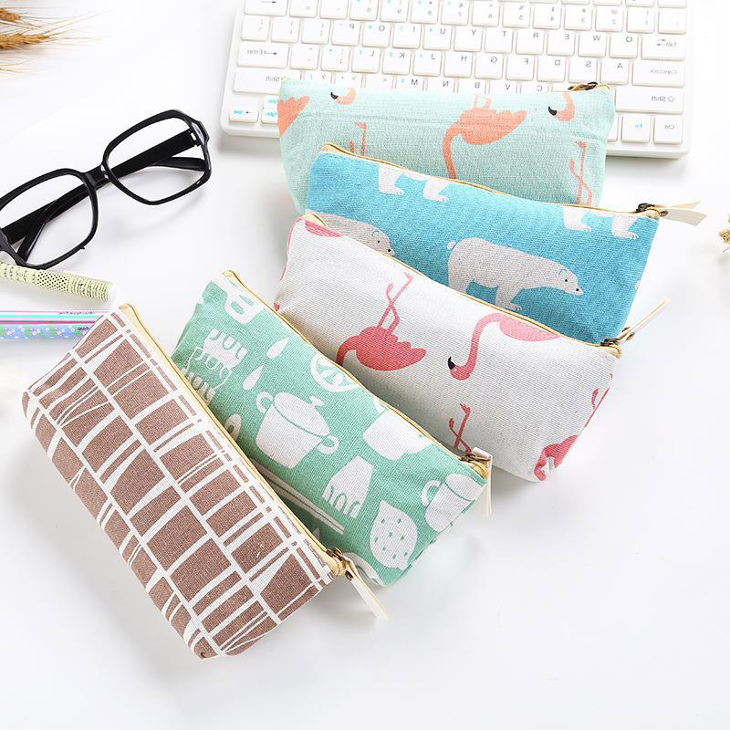 Cute Cartoon Grid Pencil Case Famingo Bear Pen Case High Capacity Pencil Bag For Kid Girl Gift School Office Supplies Stationery