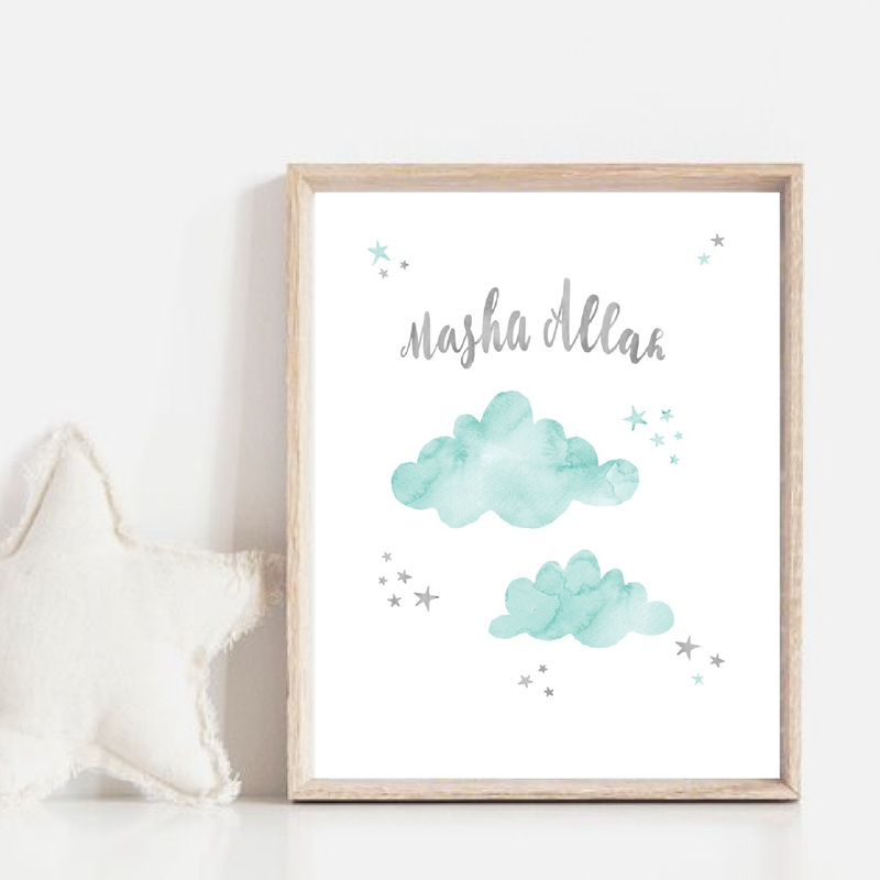 Masha Allah Mint Watercolor Canvas Print