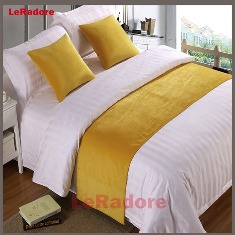 Luxury Velvet Solid Bed Runner Hotel Scarf Set Motel Protector Slipcover Bed Decorative Scarf King For Hotel Cushion Cover Green