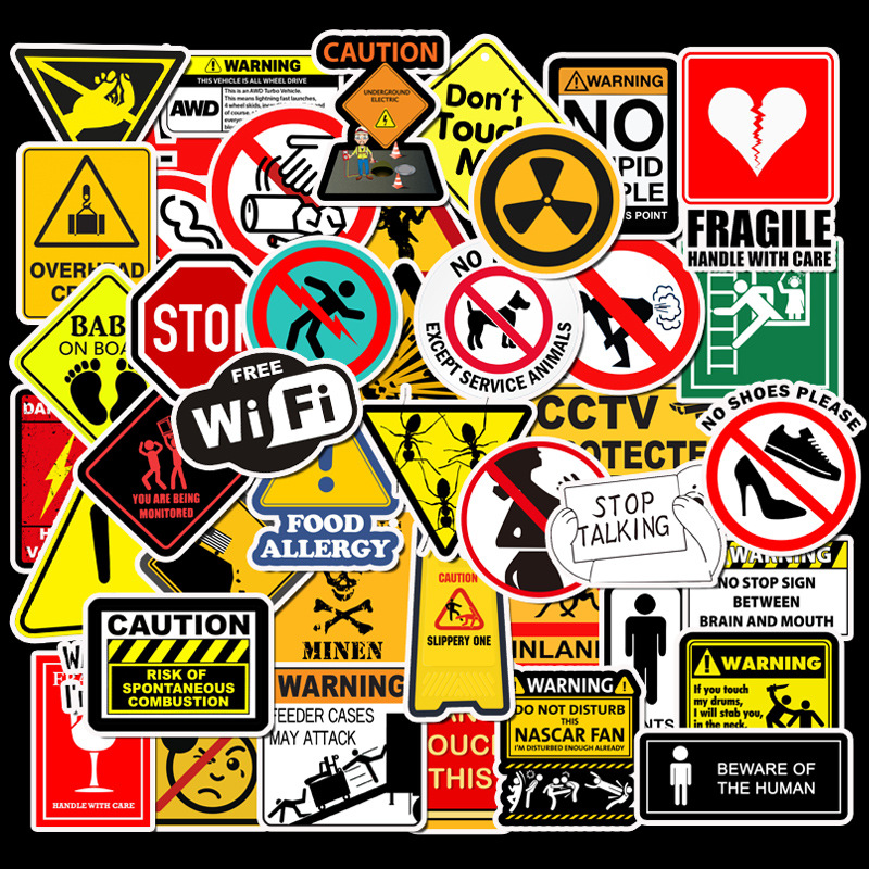 50 PCS Warning Stickers Danger Banning Signs Reminder Waterproof Decal Sticker To DIY Laptop Motorcycle Luggage Snowboard Car