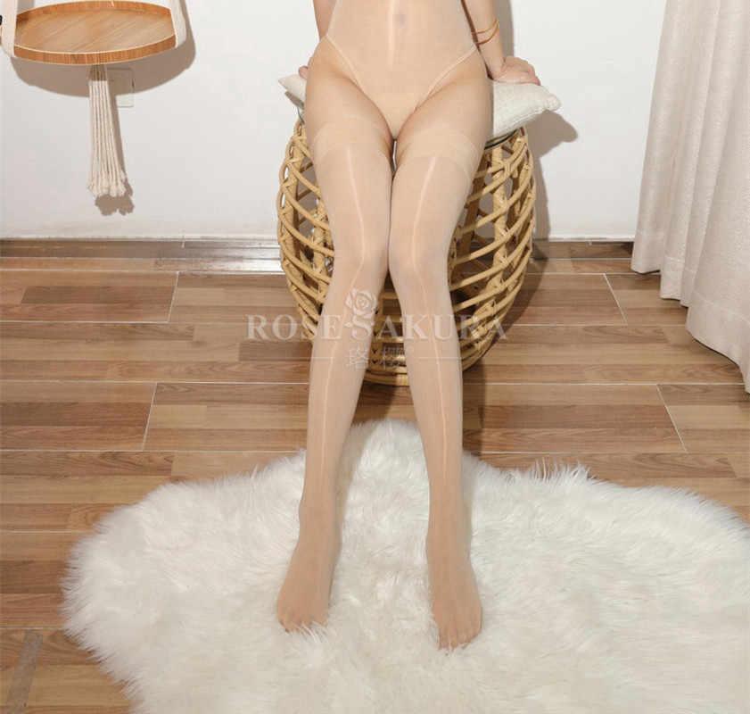 Novo sexy mulher óleo brilhante alta elástica coxa-meias altas ver através de lingerie meias de joelho medias de mujer