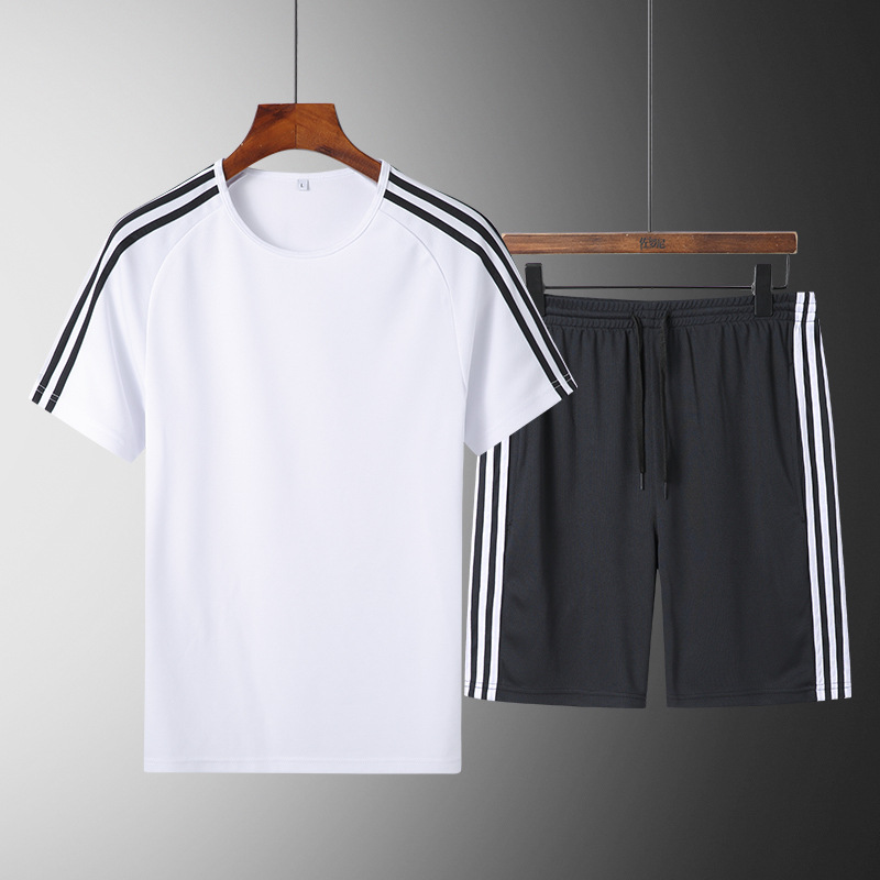 Summer Sports Set 2019 New Style Mixed Colors Casual Thin Joint Stripes Men Outdoor Sports Two-Piece Set