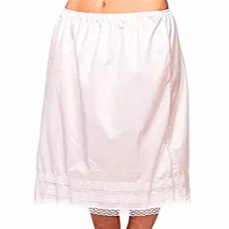 Retro Wanita Panjang Renda Padat Setengah Rok Hem Elasitc Pinggang Underskirts Kasual Hitam Putih Petticoat Rok Wanita Ukuran Plus