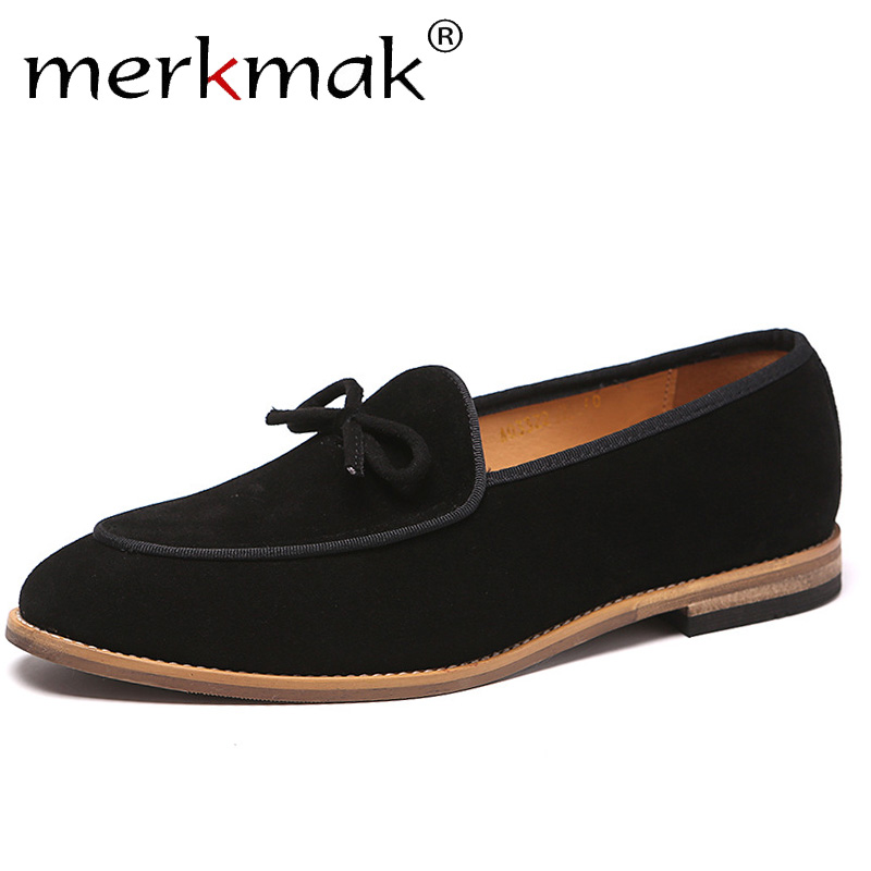 Merkmak Autumn Suede Leather Men Loafer Shoes Fashion Slip On Male Shoes Casual Shoes Man Party Wedding Footwear Big Size 37-48