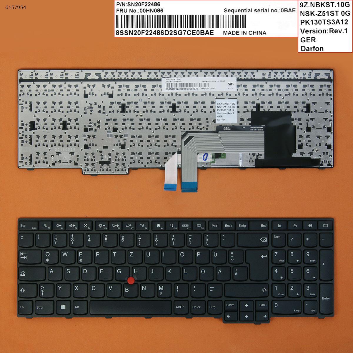 Alemão qwertz novo teclado de substituição para lenovo thinkpad e550 e550c e555 e560 e565 e560c portátil preto com ponteiro & quadro