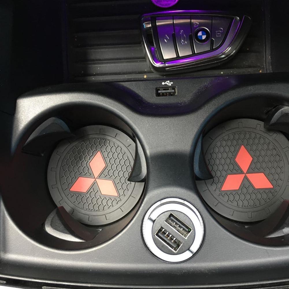 Car Styling 2 Pieces Car Coaster Epoxy Silicone Coaster Car Decoration For Mitsubishi ASX L200 Pajero Car Accessories
