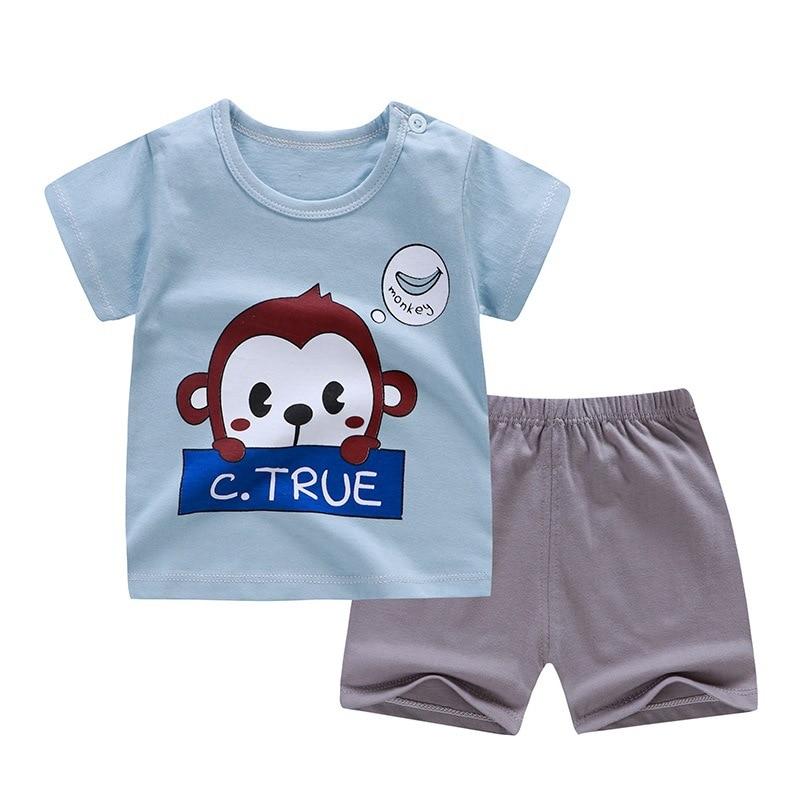 Cotton Summer Baby Children Soft Shorts Suit t-shirt Sodder Boy Girl kids dinosaur cartoon infant clothes cheap stuff for 0-6Y 4
