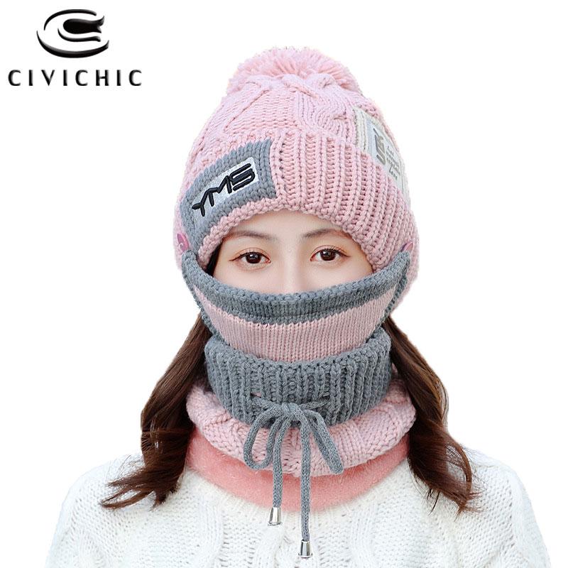 Chic Winter Warm Set Women Knit Scarf Hat Mask 3 PCS Crochet Cap Thick Pompon Beanies Fleece Headwear Strap Neck Warmer SH127