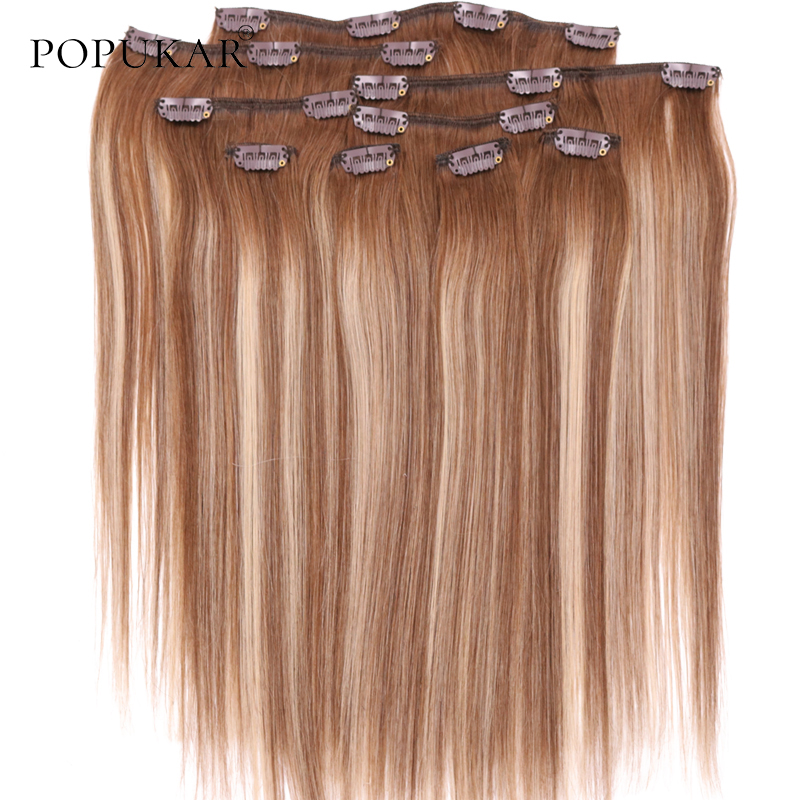 Popukar 4/27/4 Human Hair Clip In Extensions Highlights With 18 Clips 14Inch 24Inch Remy Clip In Hair Extension