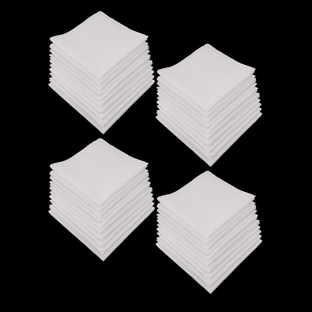 40x PLAIN CHECK  SQUARE WHITE COTTON HANDKERCHIEFS MENS HANKIES 11x11'