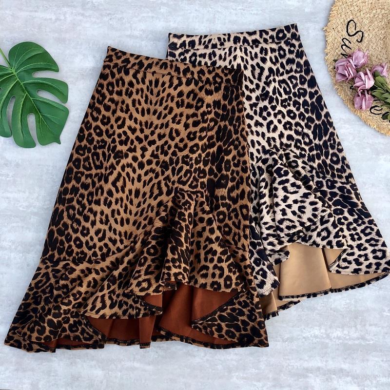 Leopard Skirt 2020 Summer Club Party Hot Sexy Style Irregular Cut Tight Skirt Empire Mini Skirts Women's Fashion