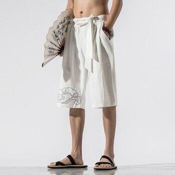 цена на 2020 Summer Men's Fashion Casual Linen Shorts Men Elastic Drawstring Waistband Beach Shorts Male Loose Sports Sweatshort M-5XL