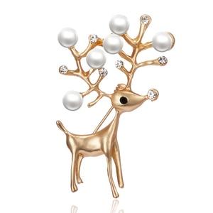 Rinhoo Elegant Pearl Rhinestone Lovely Deer Brooches for Women Christmas Reindeer Pins Luxury Coat Corsage Fashion Jewelry Gifts