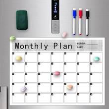 Calcomanía para refrigerador reescribible, calendario magnético innovador para el hogar, horario de viaje familiar, planificador de borrado en seco magnético suave A3
