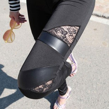 цена на YGYEEG Bandage Leggings Pants Black Plus Size Sexy Women Holllow Out Flower Lace Leggings Leather Mesh Stitching Solid Plus Size