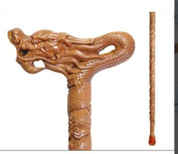 Old mahogany Natural peach wood stick stick Dragon head stick old wooden crutch crutches leading the elderly