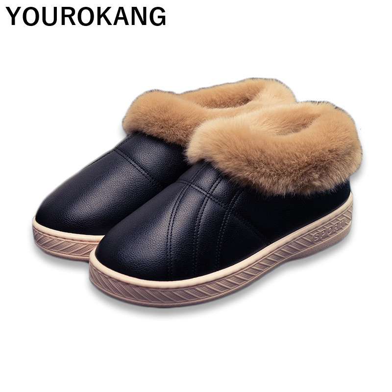 Winter Men Shoes Warm Home Slippers Indoor Floor Furry Cotton Couple House Slipper Unisex Soft Waterproof Plush Ankle Snow Boots