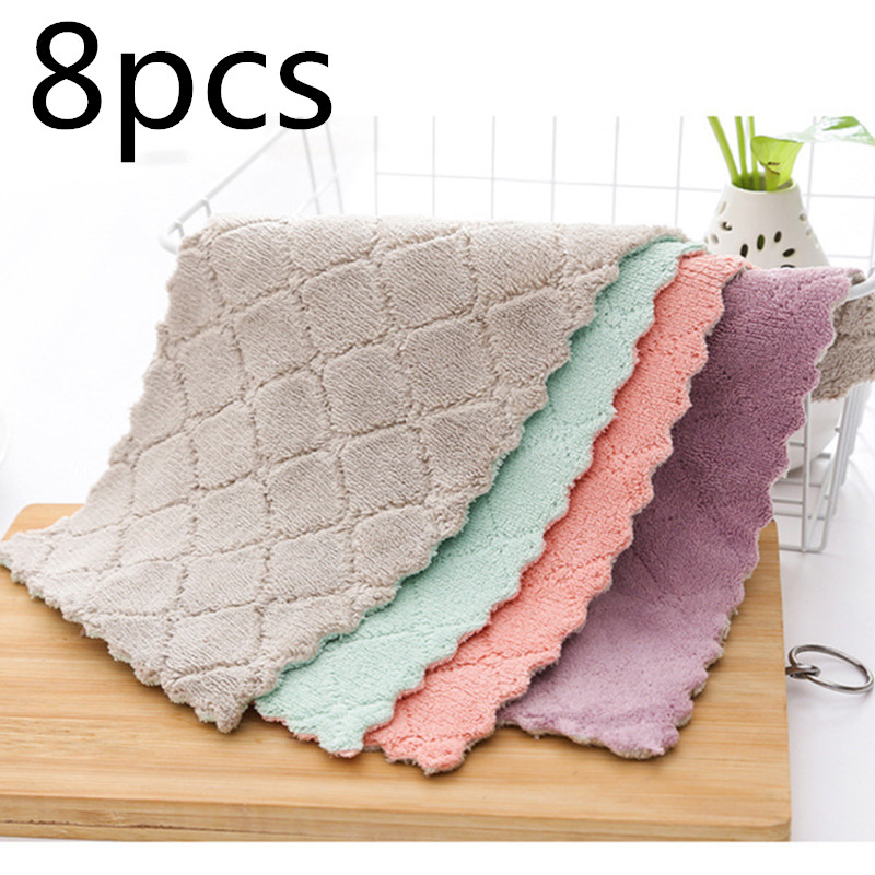 8pieces Household Super Absorbent Microfiber Towel Kitchen Dish Cloth Non-Stick Oil Washing  Rag  Tableware Cleaning Wiping Tool
