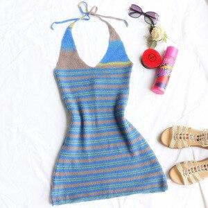 Женское трикотажное пляжное платье с V-образным вырезом и открытой спиной
