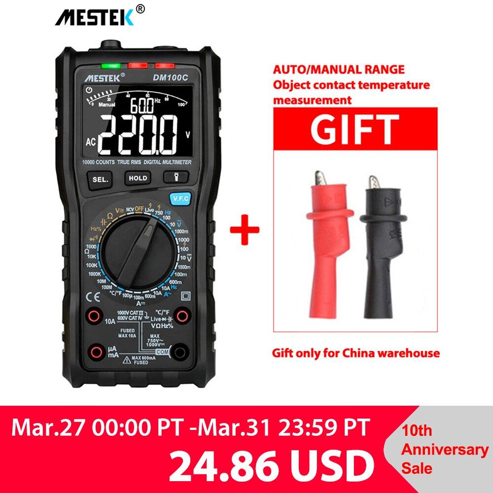 Multímetro Digital analógico MESTEK, valores eficaces verdaderos, multímetro automático NCV, multímetro de temperatura de resistencia de voltaje, medidor sin contacto|Multímetros| |  -