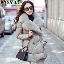 Ayunsue本革ジャケット2020冬のジャケットの女性本物のキツネの毛皮の襟100% シープスキンのコート女性韓国ダウンジャケット私