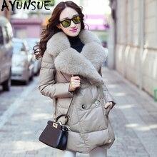 Ayunsue jaqueta de couro genuíno 2020 inverno jaqueta feminina real gola de pele de raposa 100% casaco de pele carneiro feminino coreano para baixo jaquetas meu